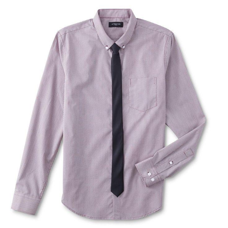 Attention Men's Big & Tall Dress Shirt & Necktie - Geometric, Size: 4XL, Pink