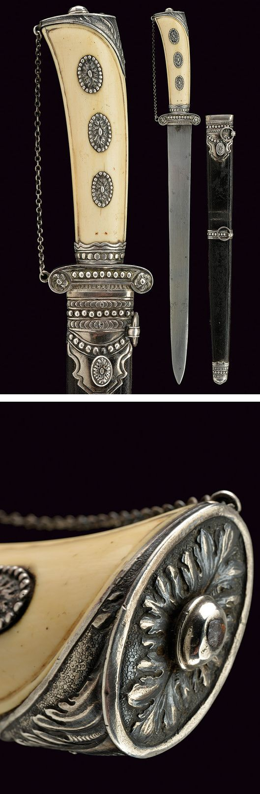 A beautiful hunting knife,    provenance:	 	France dating:	 	circa 1800.