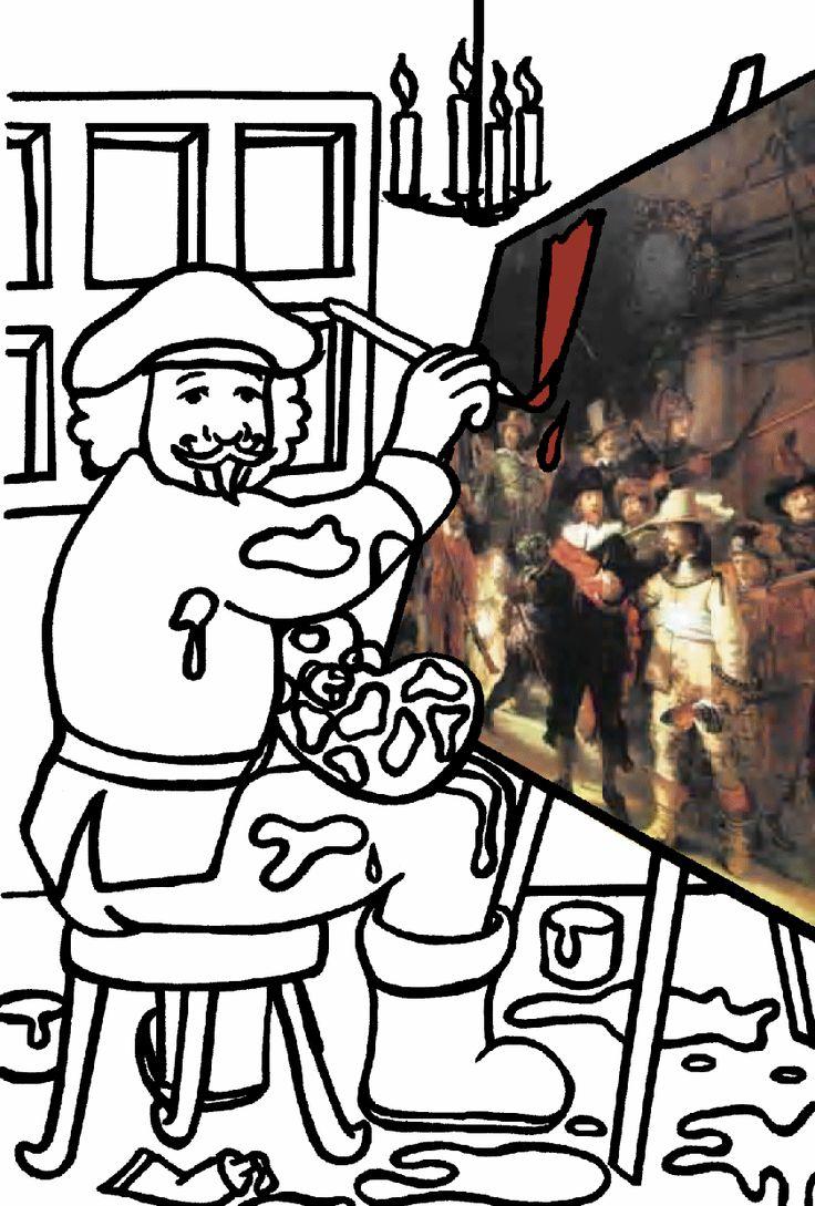 coloring page rembrandt van rijn rembrandt van rijn