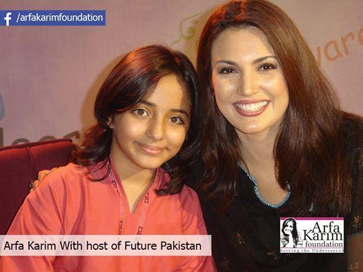 "Arfa Karim with host of AAJ Tv Program ""Future of Pakistan""."