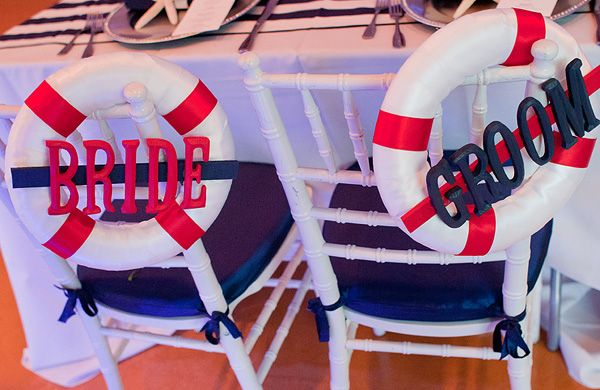 Nautical wedding idea for bride and groom seat