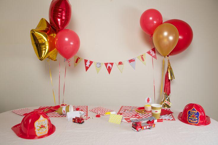 Couleurs rouge et or  Kit deco anniversaire theme pompier enfant garcon – Achat / Vente