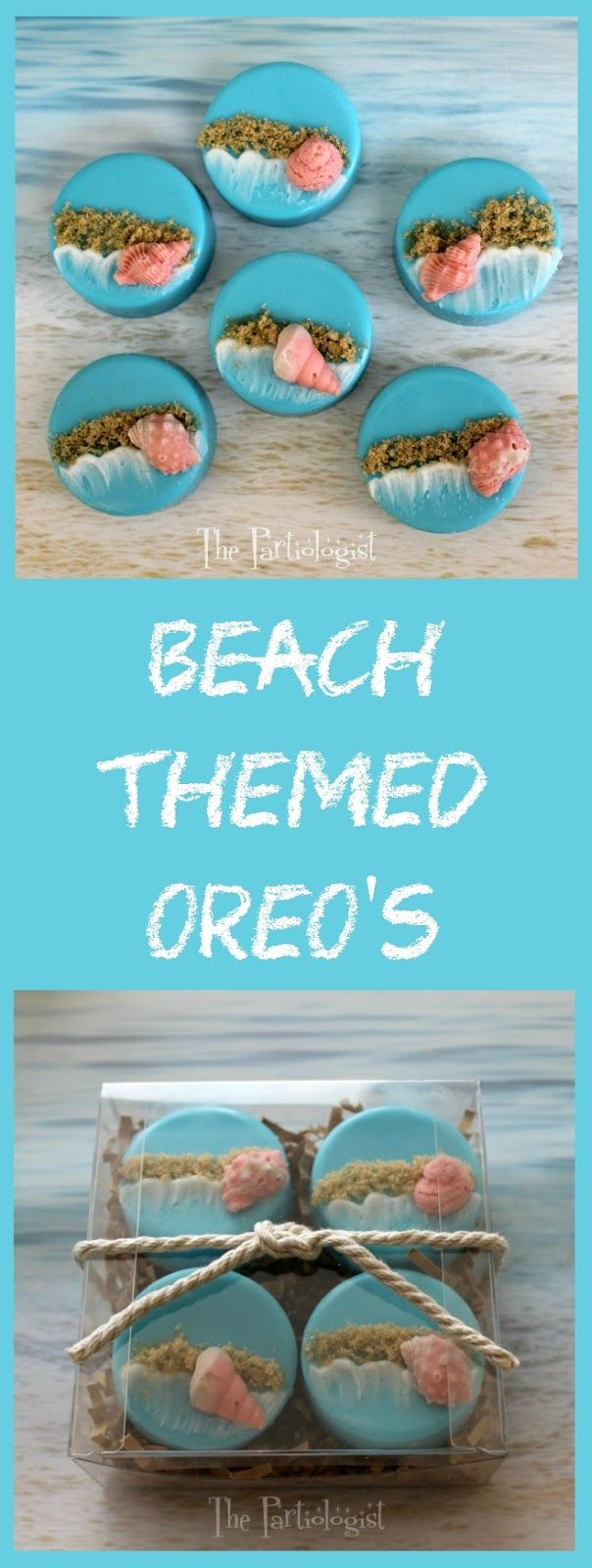 Beach Themed Oreo's, perfect for a summer wedding favor or any beach themed event! Melt Wilton blue Candy Melts to cover the Oreos. - From thepartiologist.com