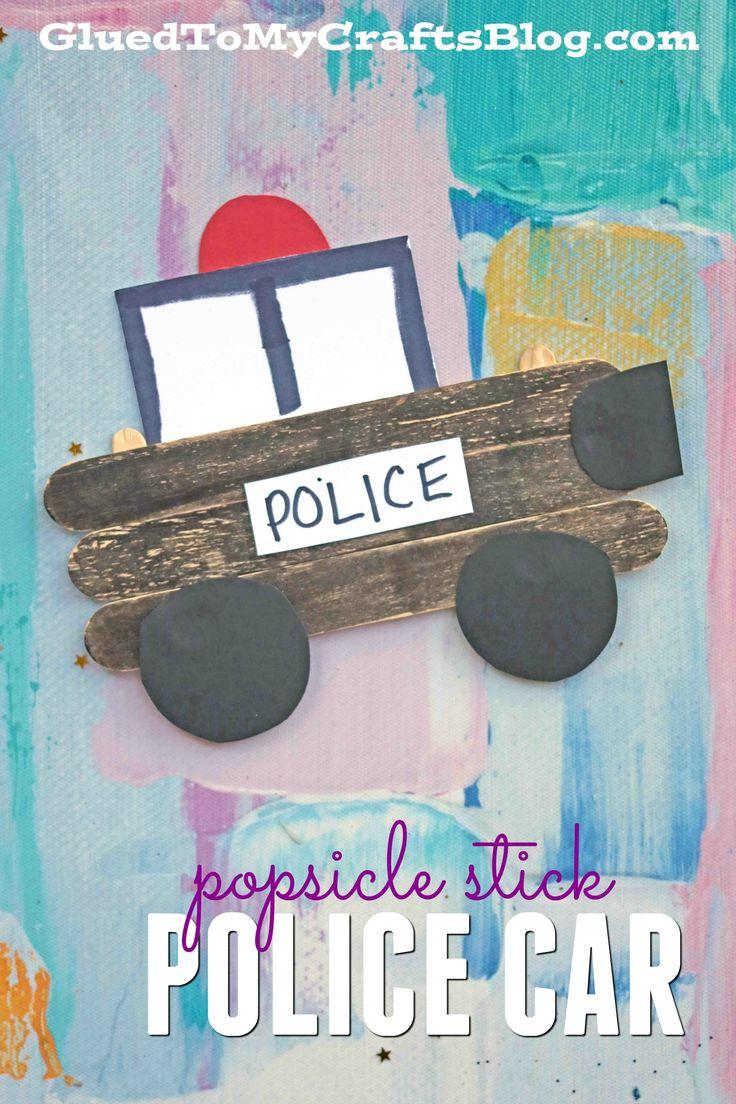 Popsicle Stick Police Car - Kid Craft Idea