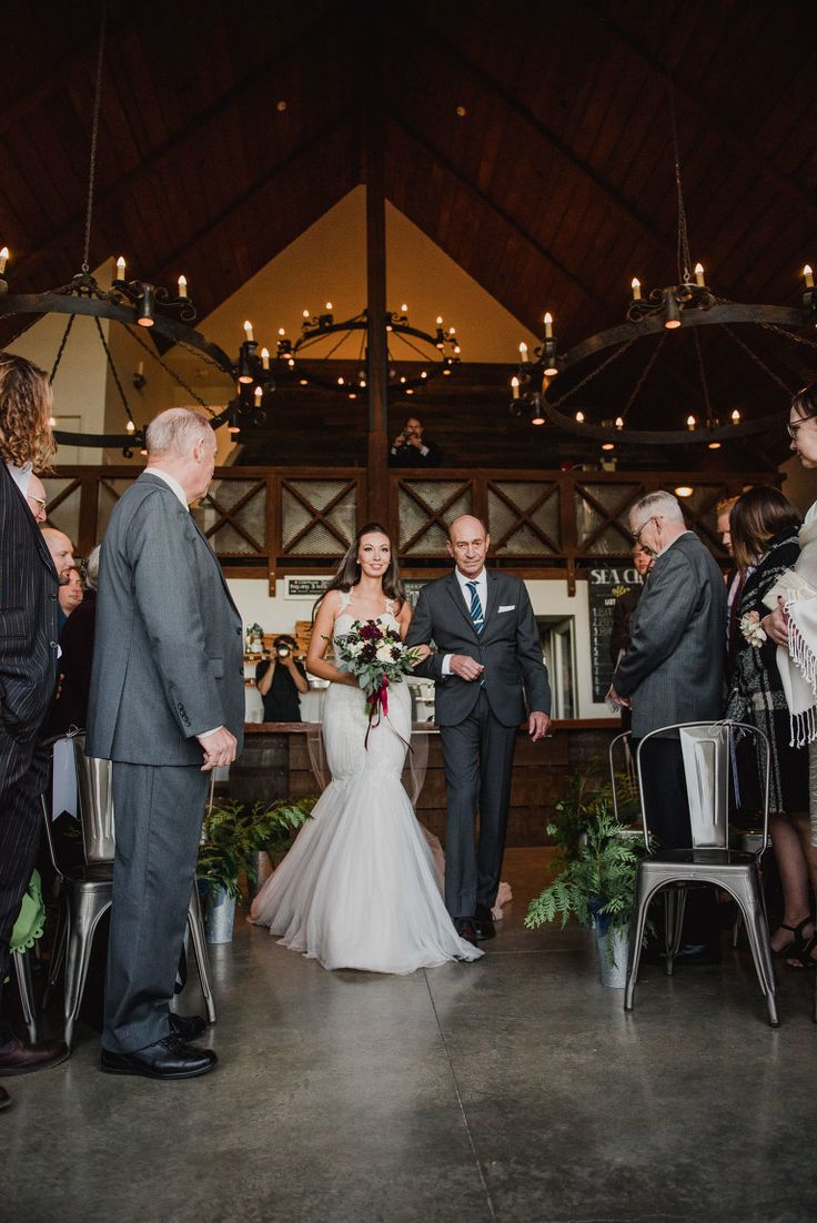 Wedding Photos at Sea Cider Victoria BC Photographer  Epic Wedding Venues on Vancouver Island   Bride walking down the aisle with her father, wedding processional