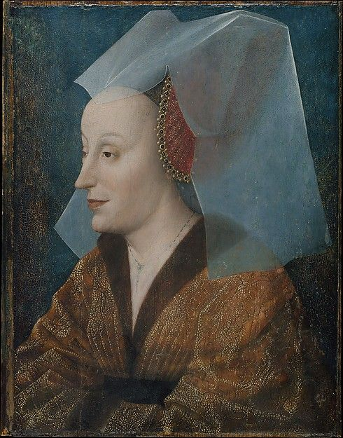 Portrait of a Noblewoman, Probably Isabella of Portugal (1397–1472) Artist: Netherlandish Painter (mid-15th century) Medium: Oil on wood Dimensions: Overall 13 5/8 x 10 5/8 in. (34.6 x 27 cm), with added strips of 1/8 in. (0.3 cm) at each side Classification: Paintings