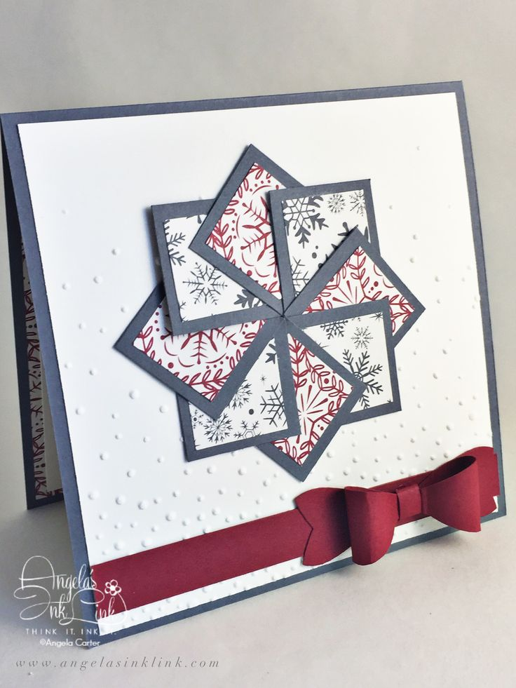 Square Christmas Card using all Stampin' Up! products by www.angelasinklink.com
