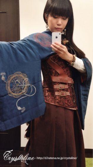 アンティークの羽織と袴スカートで初めての和装スチームパンク - Crystaline:スチームパンクな淑女の叙事詩