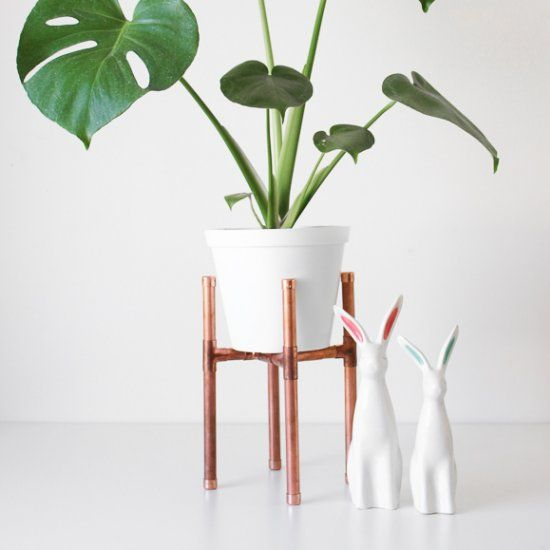 Use copper pipe to turn a plain pot plant into a statement piece. So simple.