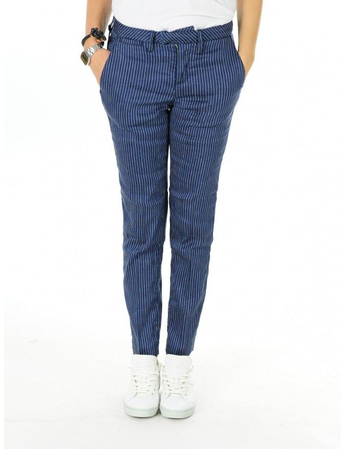PANTALONE DONNA C0302 BLU #caneppele #trento #women #outfit #shop #online #italia #spring #summer #2016 #stripes #haikure #pants #trousers #pantalone #gessato #blu #bianco #elegante #evening #look #ispirazione