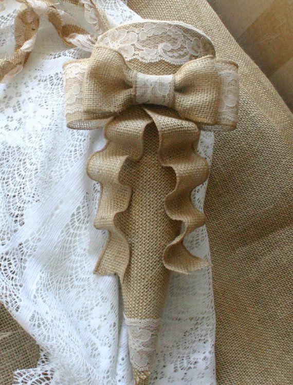 Burlap wedding cones Wedding cones by Bannerbanquet on Etsy, $25.50