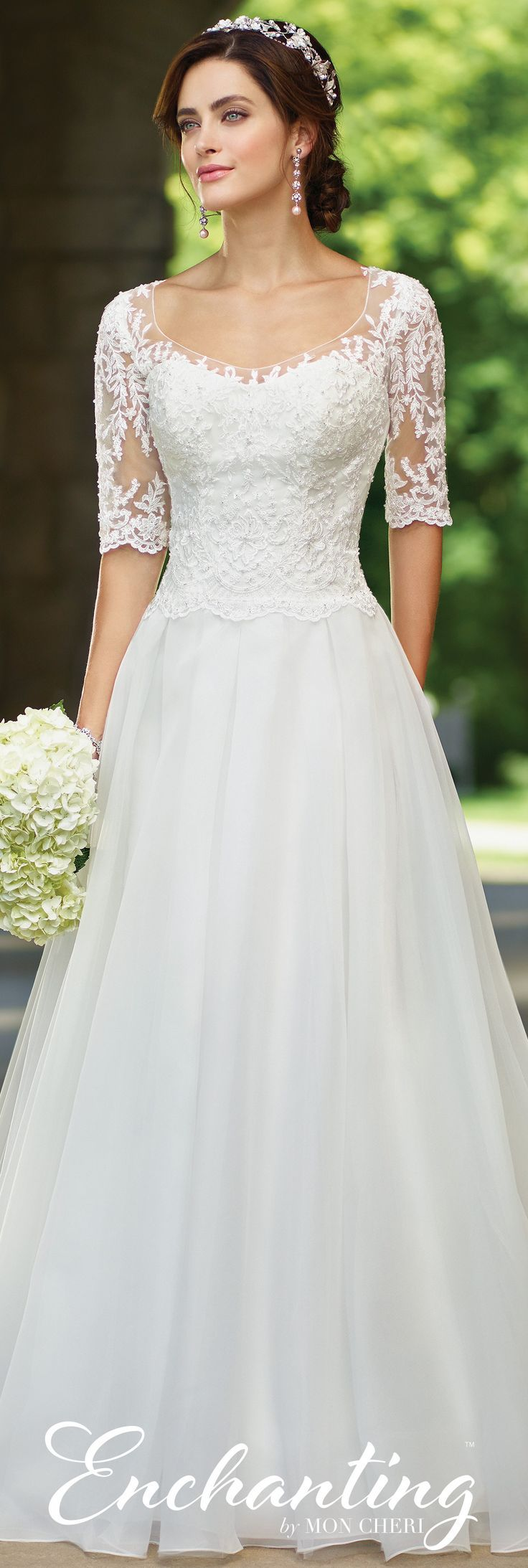 Enchanting by Mon Cheri Spring 2017 Wedding Gown Collection - Style No. 117177 - organza and lace A-line wedding dress with sleeves #wedding #weddingdress