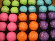 Glitter Bites at Sarah's Cake Shop and Bakery Chesterfield Missouri ~ to die for!!!  We had blue balls, they were soft, I couldn't wait to get my mouth on them!