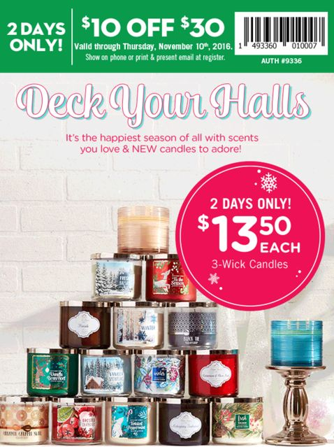 Bath & Body Works Canada Coupon: Save $10 Off Any $30 Purchase  Just $13.50 For 3-Wick Candles  More Deals! http://www.lavahotdeals.com/ca/cheap/bath-body-works-canada-coupon-save-10-30/136107