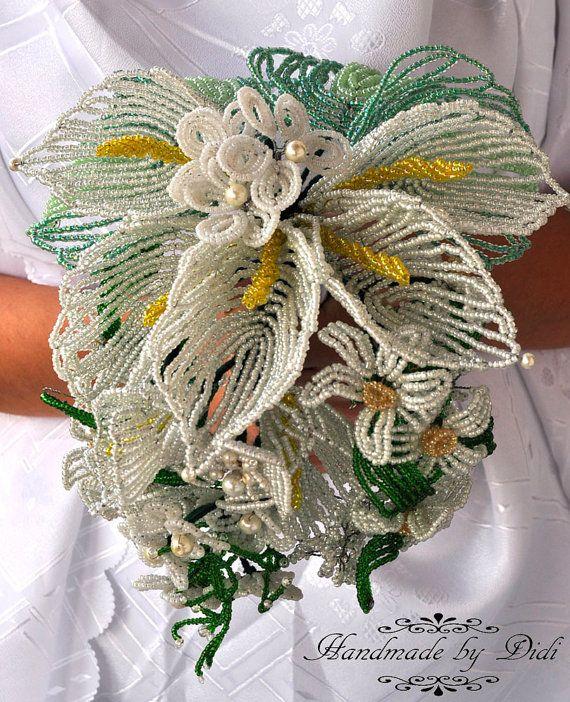 francese perline bouquet da sposa, fiori matrimonio bianco, cala - Giglio da rocailles