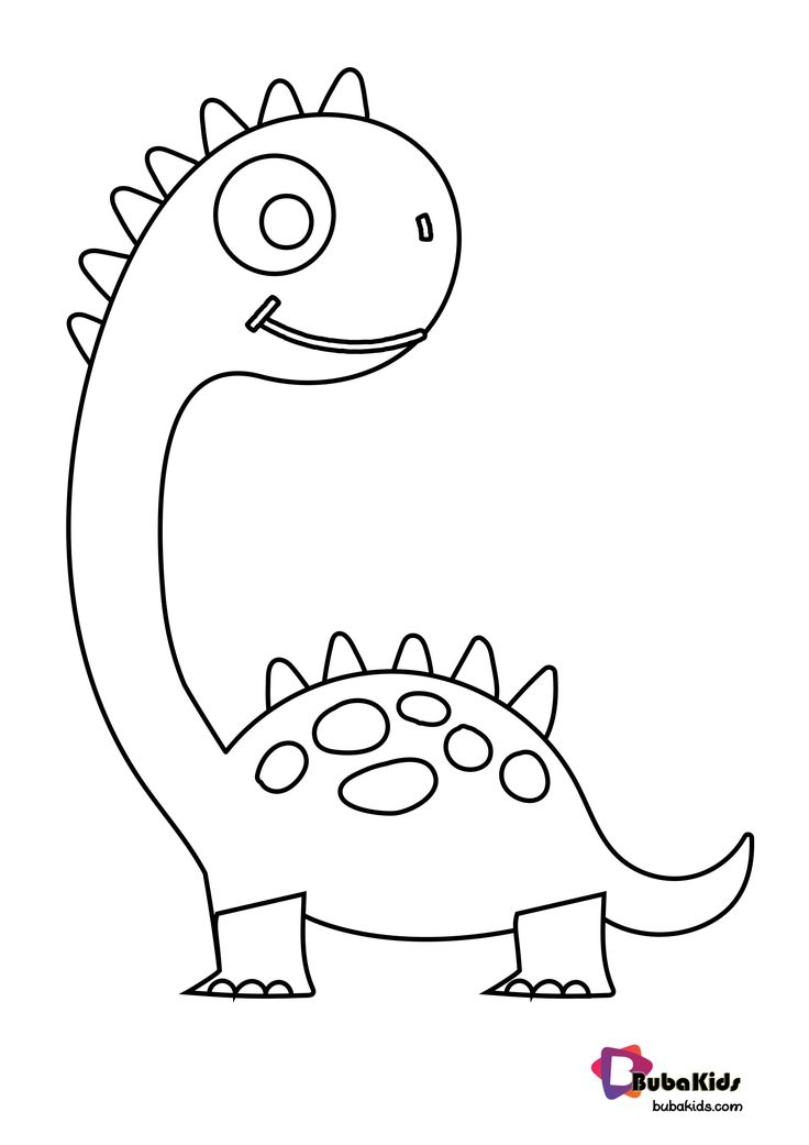 Cute Dinosaurs Coloring Page For Kids in 2020 | Dinozaur ...