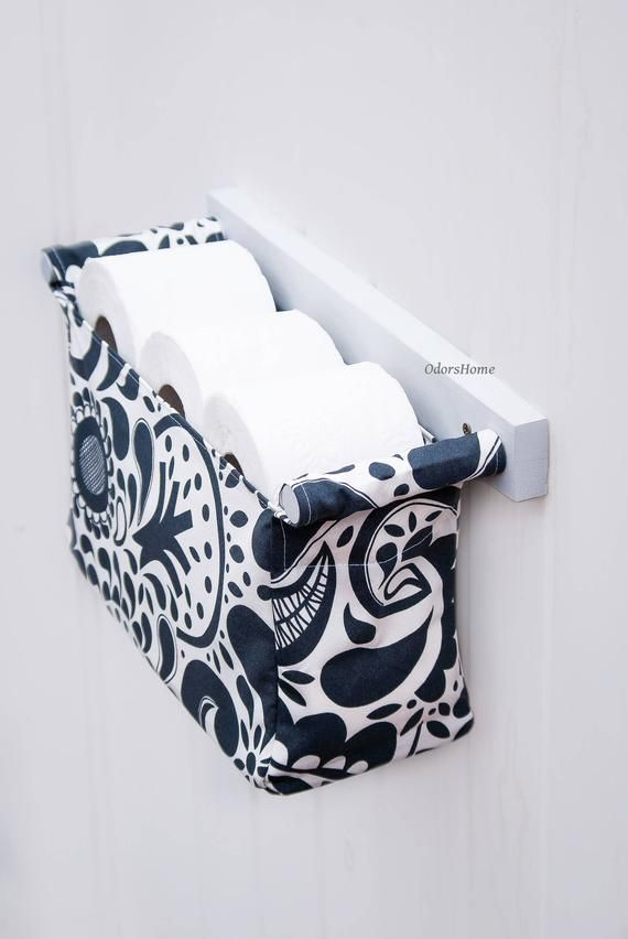 Decorative toilet paper holder – toilet organizer – tissue holder – bathroom organizer modern Scandinavian style with Spoonflower fabric