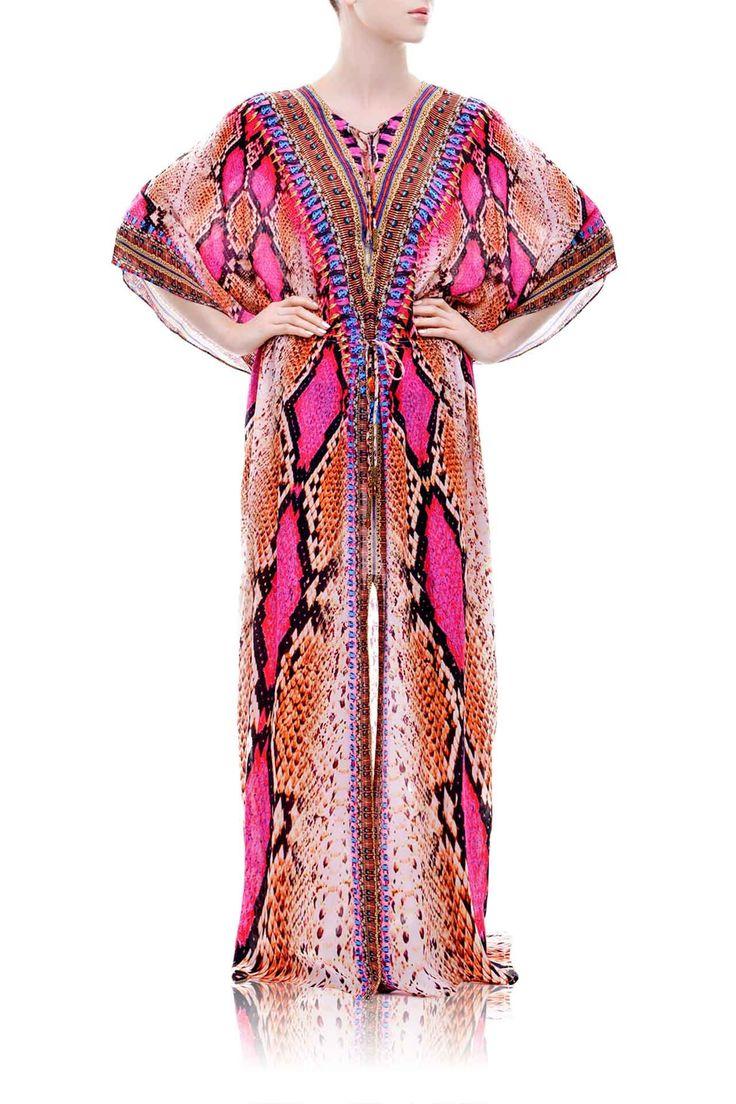 Designer Long Kaftan Dress - Shahida - Shahida Parides