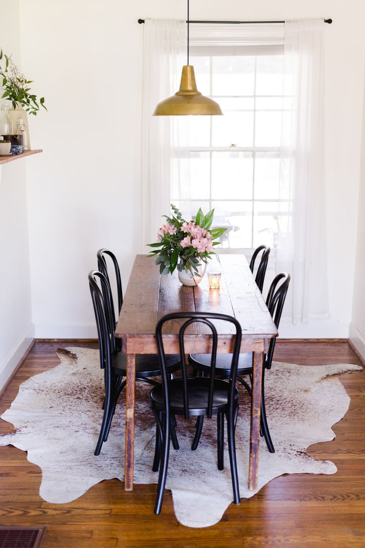 A Tiny and Charming Cottage in Nashville, TN | Design*Sponge | Brass  Factory  Rug In Dining RoomNarrow Dining Room TableSmall ...