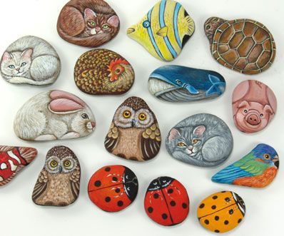 Painting rocks is a lot of fun. so doing this with the kids next summer out on the deck