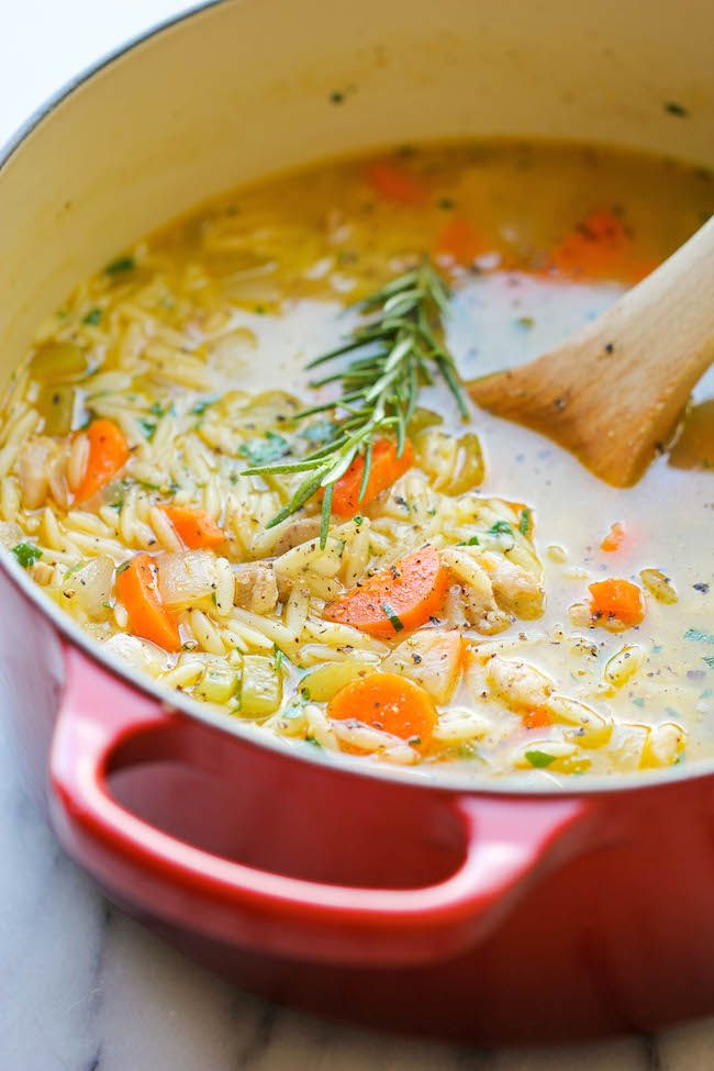 Lemon Chicken Orzo Soup - Chockfull of hearty veggies and tender chicken in a refreshing lemony broth - it's pure comfort in a bowl! (MAYBE rice or quinoa instead of orzo for me)