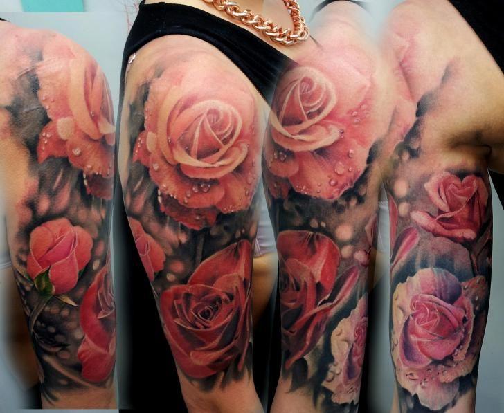 tattoo blumenranke | Schulter Realistische Blumen Tattoo von Matt Jordan Tattoo