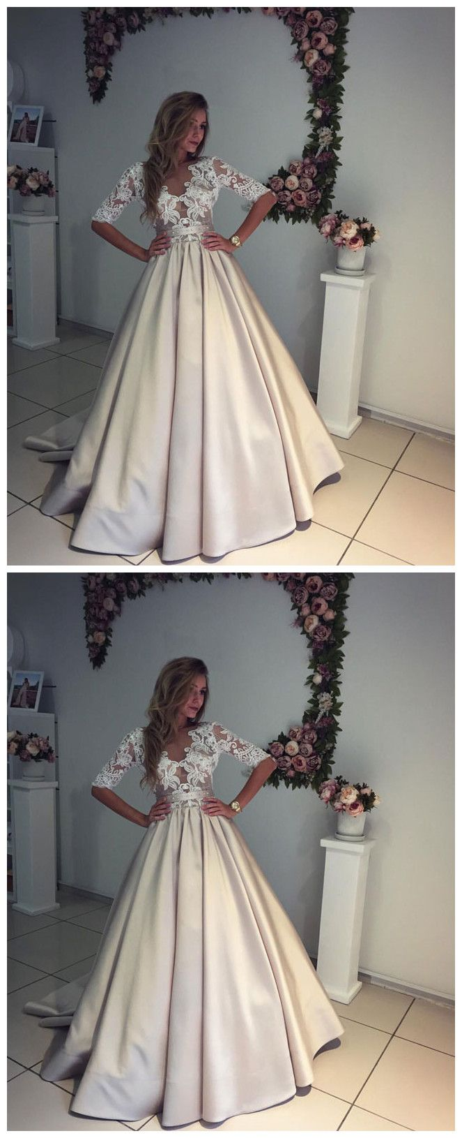 Champagne satin lace wedding dress, prom dress #promdresses #longpromdresses #2018promdresses #2018newstyles #fashions #styles #hiprom #champagne