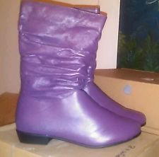Valley Lane New Purple Leather Scrunch Women's Boots Size 7-8 M,W,& WW Width