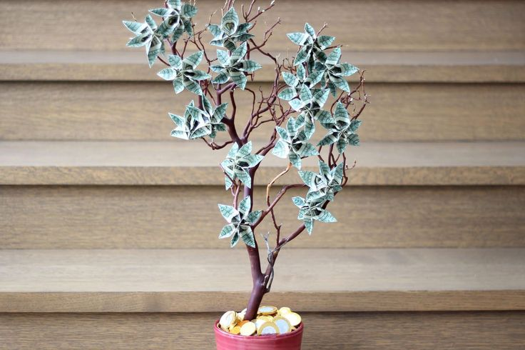 Money trees are branch arrangements decorated with dollar bills folded into floral shapes. They make great gifts for birthdays, graduations and weddings.