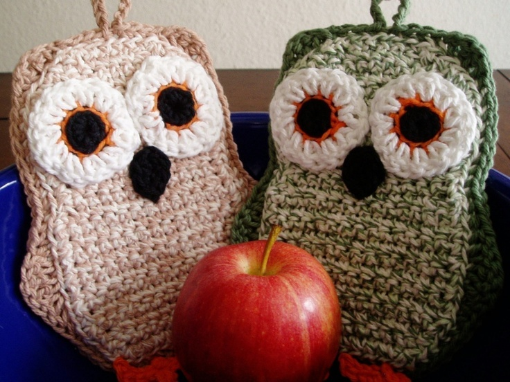 Funky Little Owl Potholder Crochet PDF Pattern. via Etsy.