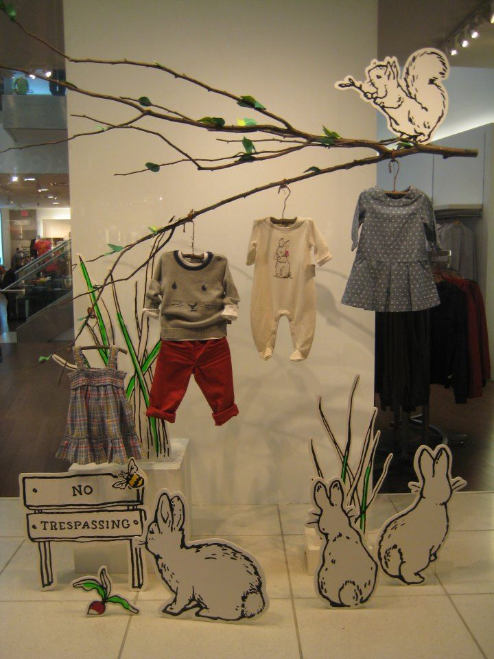 Spring window, nice use of branch for hanging product