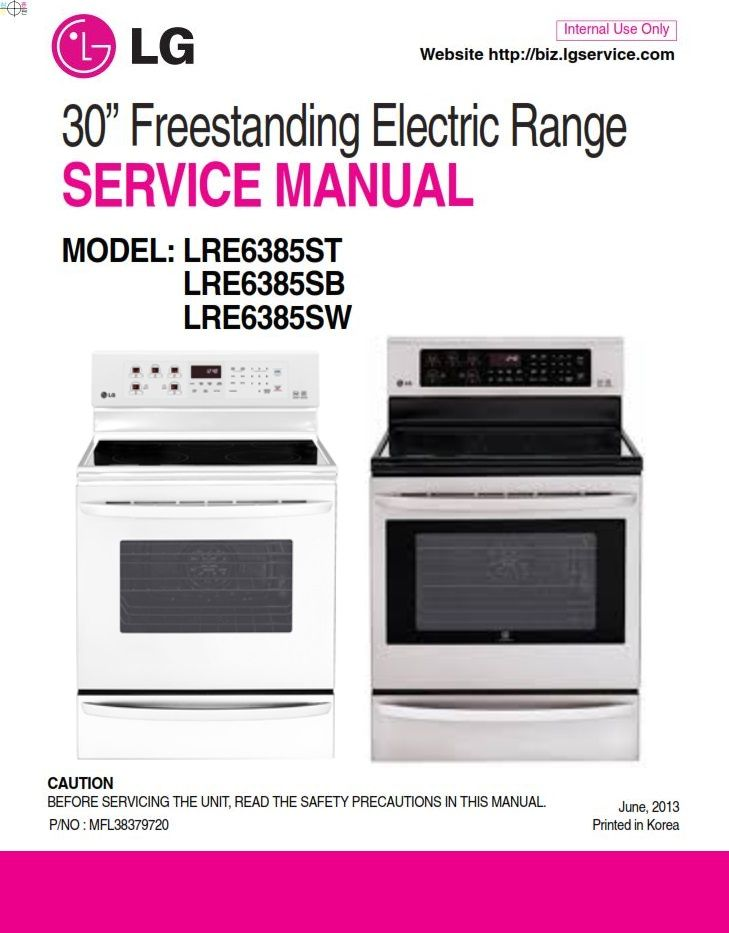 Lg Lre6385st Lre6385sb Lre6385sw Oven Range Service Manual Oven Range Manual Lg Oven