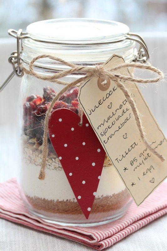 * Julecookies på glass - med valnøtter, sjokolade og tranebær *