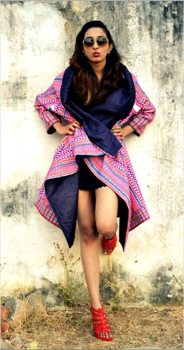 Ankita's Needle - Pret - Bohemian Moda - A Gypsy styled long reversible oversized jacket made using jute linen on one side and tradition woven wool fabric with colourful geometrical repetitive patterns of Kutch ( Gujarat,India ) on other. The inspiration is taken from the unconventional life style of bohemians and contemporizing the silhouette from a different perspective. #bohemian #fashion #pret #design #moda #style #contemporary
