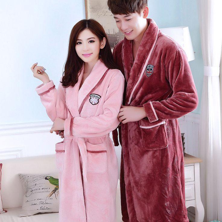 Bath Robe Female Lovers Coral Fleece 21 Colors Night Gown Spa Bathrobe Unisex Bath Robe Man Long Sleeve Kimono Womens Gowns