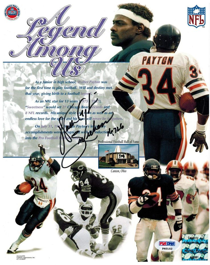 Walter Payton Signed Bears 'Legend Among Us' Collage 8x10 Photo w/Sweetness