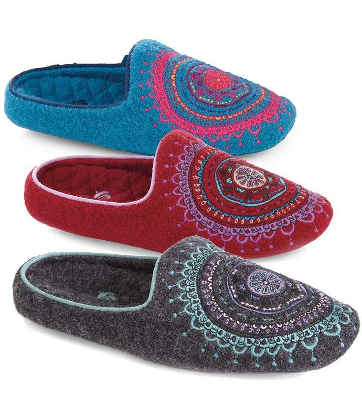 Acorn® Boiled Wool Women's Henna Scuff Slippers