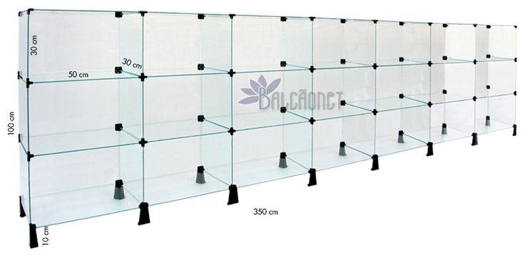 Balcão de Atendimento Modulado em Vidro - 3,50 x 1,00 x 0,30