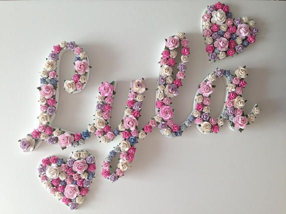 Custom Floral Script Name Nursery Decor Baby Name