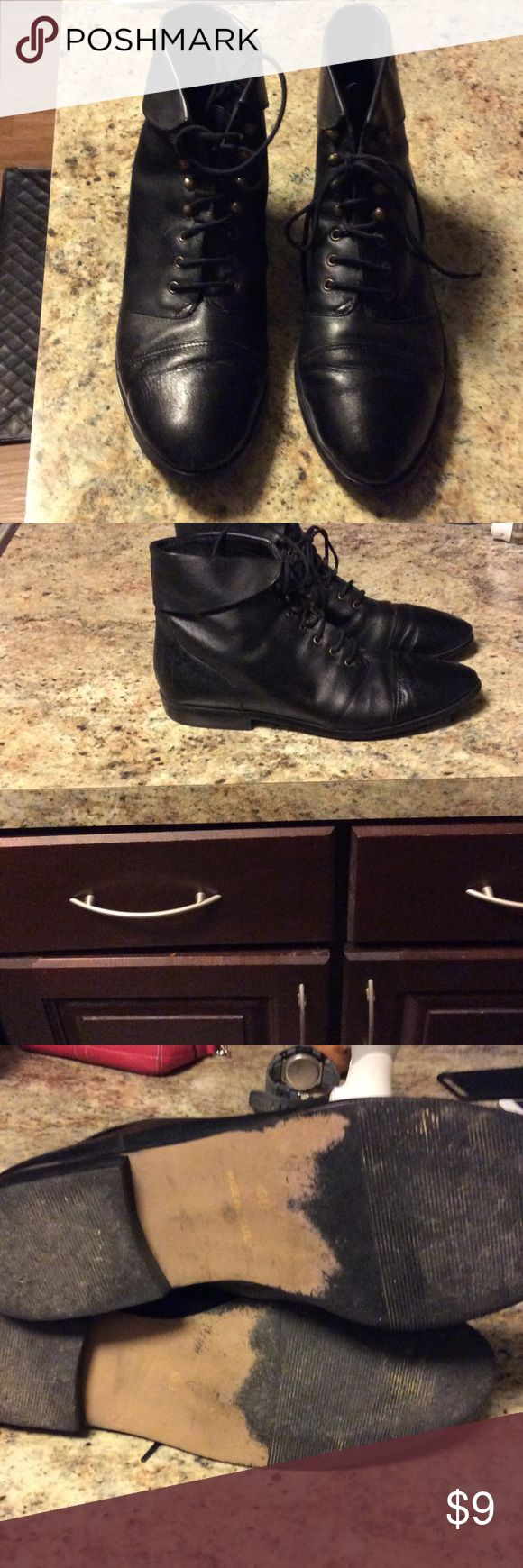 Ladies cute black leather/man-made ankle boots Ladies cute black ankle boots. Flip down collar on each boot for extra chic and cuteness! Shoes Ankle Boots & Booties