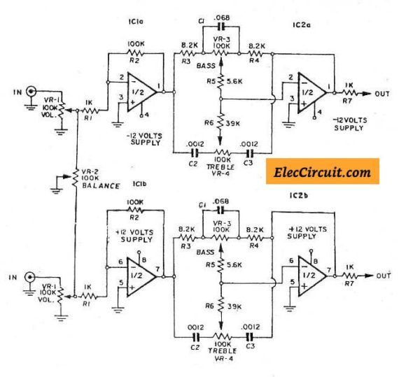 3 (bass mid treble) Tone control circuits projects using ...