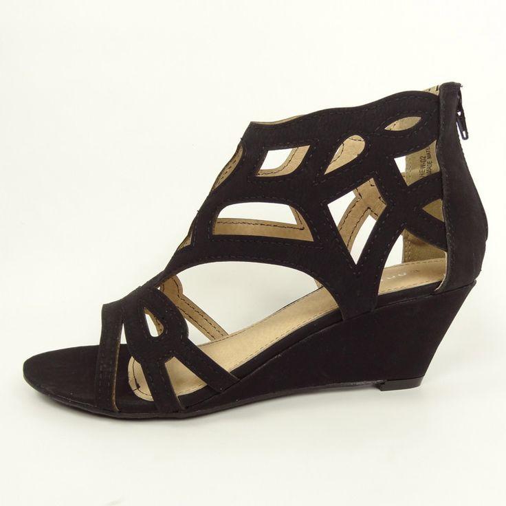 Lattice Cut Out Low Wedges - Black   Shoes   Pinterest   Shorts