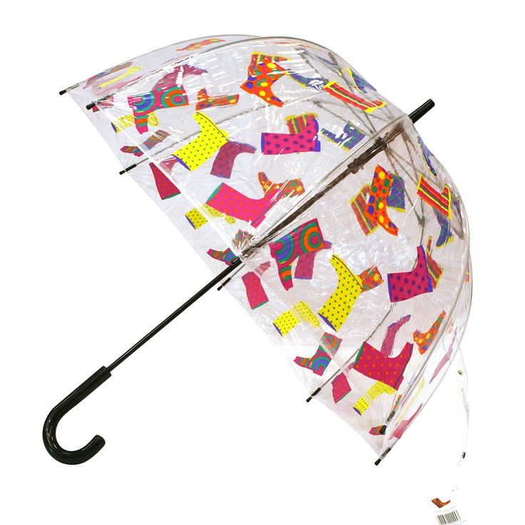 Highly appropriate for the UK! Clear dome multi coloured #umbrella with #wellies