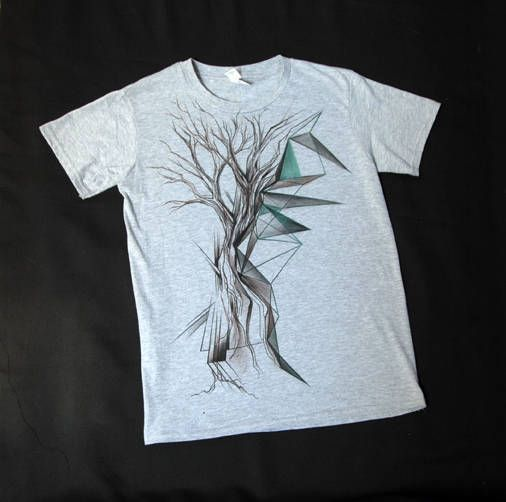 abstract geometric tree hand painted t-shirt