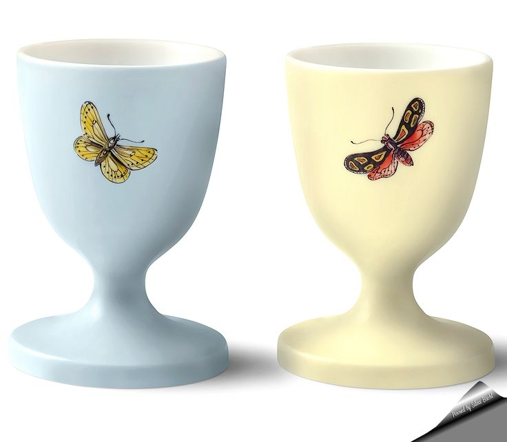 "Asprey London ""Butterfly"" egg cups."