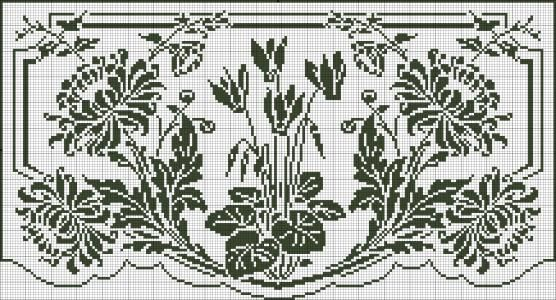Curtain in filet crochet - Chrysanthemums and cyclamens