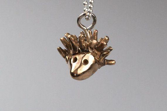 Hedgehog  pendant    bronze pendant  tiny hedgehog by NyamiJewelry