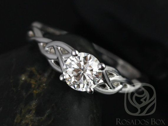 Cassidy 6mm 14kt White Gold Round FB Moissanite Celtic Knot Engagement Ring (Other Metals and Stone Options Available)