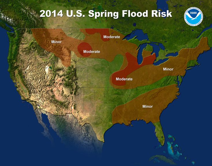U.S. spring flood risk map for 2014.