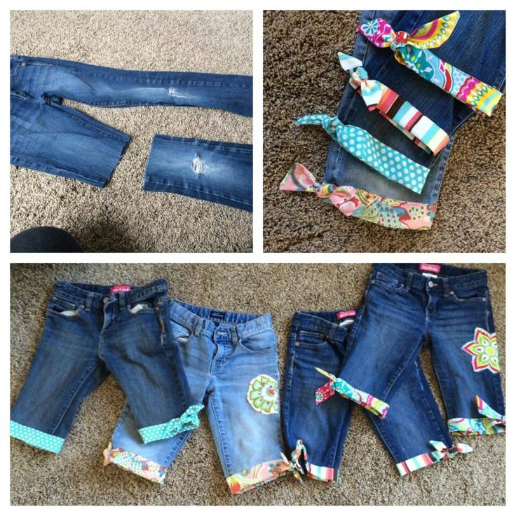 Cut the jeans at the knee, grab supper cute fabric, and hem. Repurposed!!
